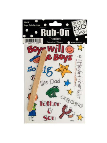Boys Only Sayings Rub-On Transfers (Available in a pack of 24)