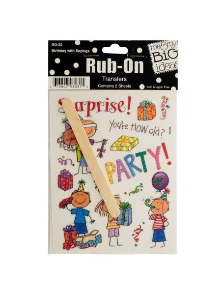 Birthday with Sayings Rub-On Transfers (Available in a pack of 24)