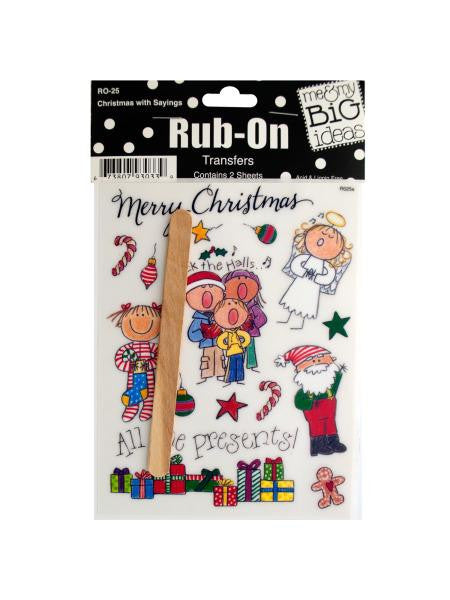 Christmas with Sayings Rub-On Transfers (Available in a pack of 24)