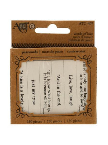 Words of Love Paper Craft Passwords (Available in a pack of 18)