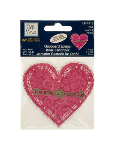 Love Chipboard Spinner Sticker with Glitter Accents (Available in a pack of 24)