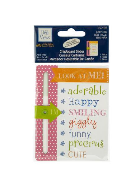 Baby Girl Chipboard Slider with Glitter Accents (Available in a pack of 24)