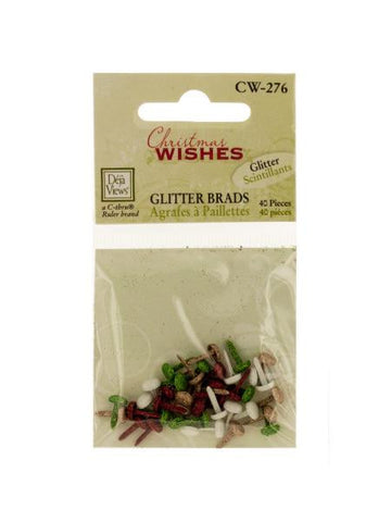 Christmas Wishes Mini Glitter Brads (Available in a pack of 24)