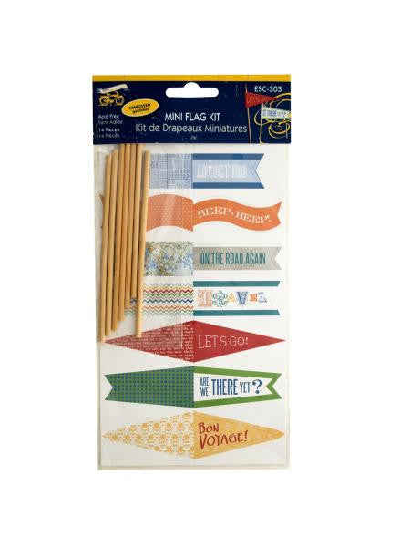 Travel Theme Embossed Mini Flag Kit (Available in a pack of 24)