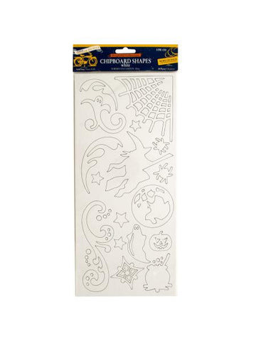 Halloween White Chipboard Shapes (Available in a pack of 24)