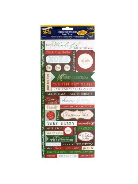 Christmas Greetings Cardstock Stickers with Foil Accents (Available in a pack of 30)