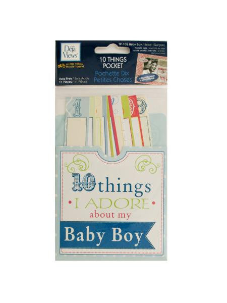 10 Things I Adore About My Baby Boy Journaling Pocket (Available in a pack of 24)