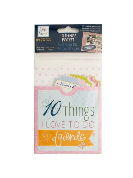 10 Things Friends Journaling Pocket (Available in a pack of 24)