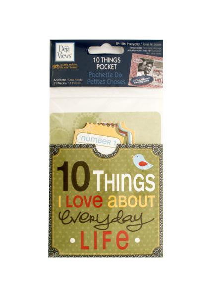 10 Things I Love About Everyday Life Journaling Pocket (Available in a pack of 24)