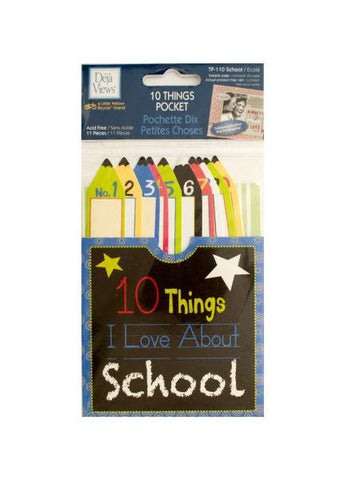 10 Things I Love About School Journaling Pocket (Available in a pack of 24)