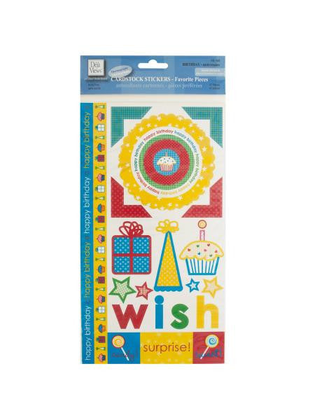 Birthday Cardstock Stickers (Available in a pack of 24)