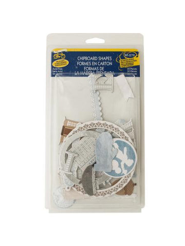 Winter Chipboard Shapes with Foil Accents (Available in a pack of 24)