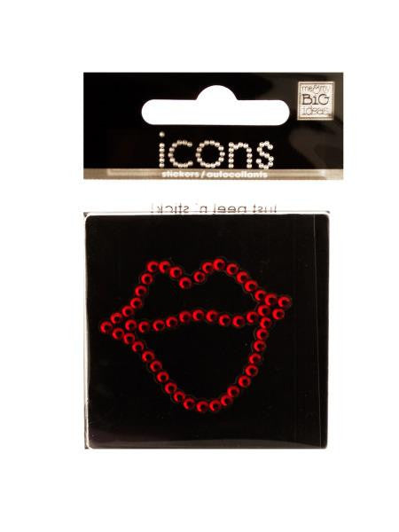 Bling Rhinestone Lips Icon Sticker (Available in a pack of 24)