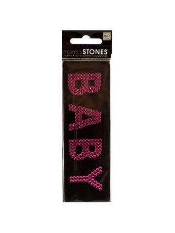 Bling 'Baby' Pink Rhinestone Word Sticker (Available in a pack of 24)