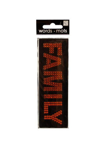 Bling 'Family' Orange Rhinestone Word Sticker (Available in a pack of 24)
