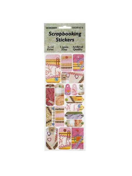 Pink Sewing Fun Decorative Tags Scrapbooking Stickers (Available in a pack of 24)