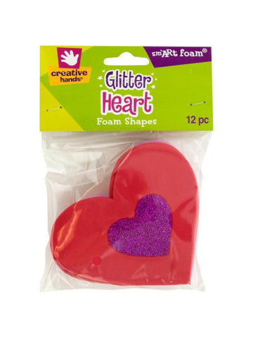 Glitter Heart Foam Shapes (Available in a pack of 18)