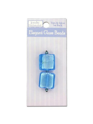 Large square blue glass beads and spacers (Available in a pack of 24)