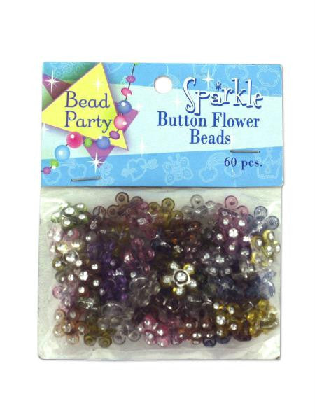 Sparkle button flower beads, pack of 60 (Available in a pack of 24)