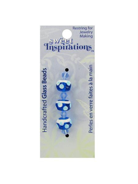 Round blue beads with dots and spacers (Available in a pack of 30)