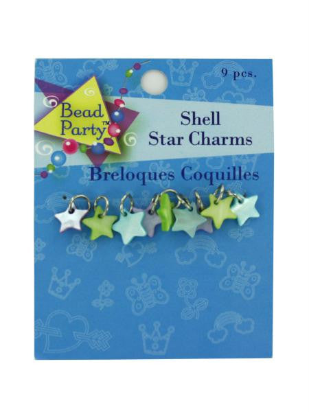 Pastel shell star charms, pack of 9 (Available in a pack of 24)