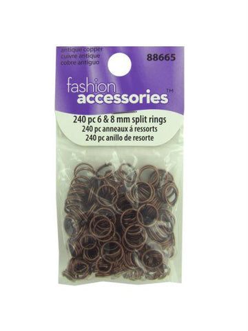 Antique copper split rings, 2 sizes, pack of 240 (Available in a pack of 30)