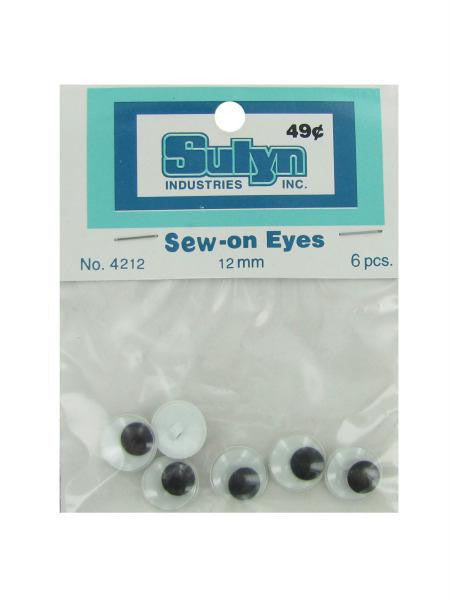 Sew-on eyes, pack of 6 (Available in a pack of 24)