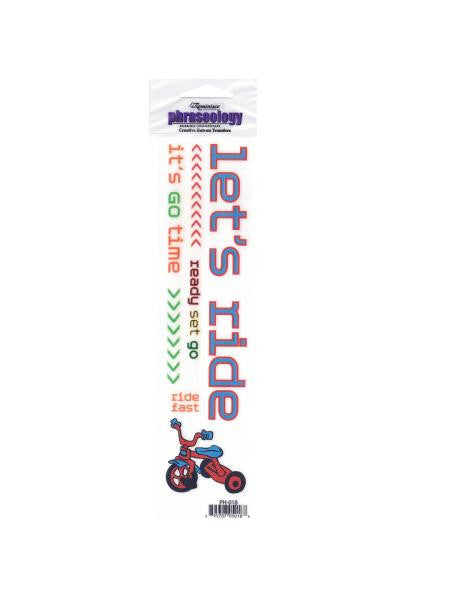 Let's Ride Creative Rub-On Transfer (Available in a pack of 24)