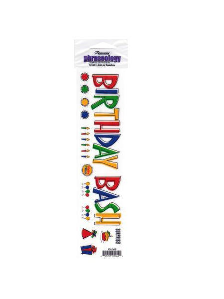 Birthday Bash Creative Rub-On Transfer (Available in a pack of 24)
