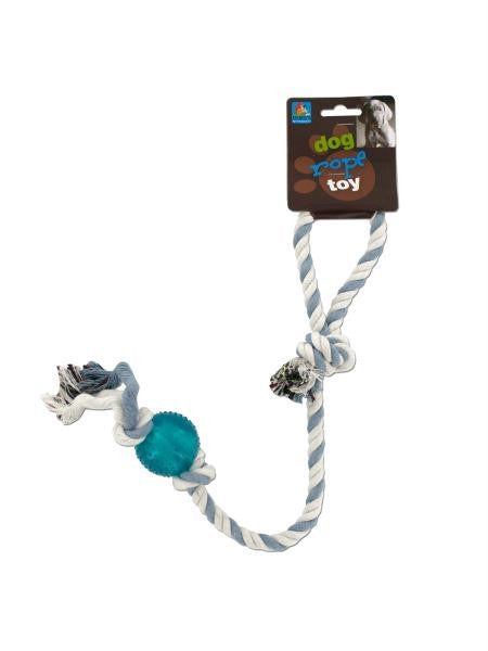 Dog Rope Toy with Plastic Ball (Available in a pack of 24)