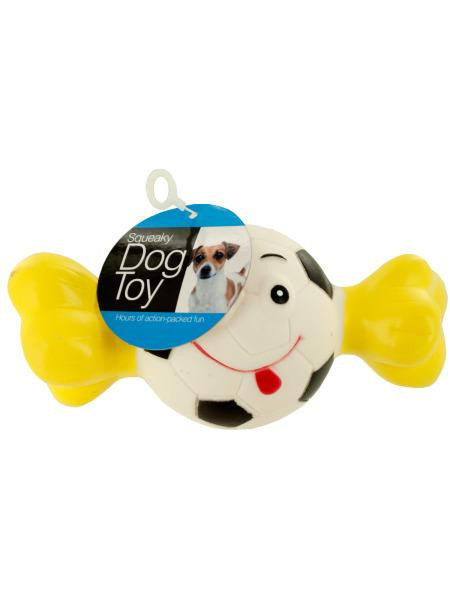 Squeaky Sports Ball with Bone Dog Toy (Available in a pack of 12)