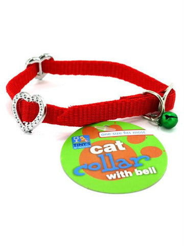 Adjustable Cat Collar with Bell & Rhinestones (Available in a pack of 24)