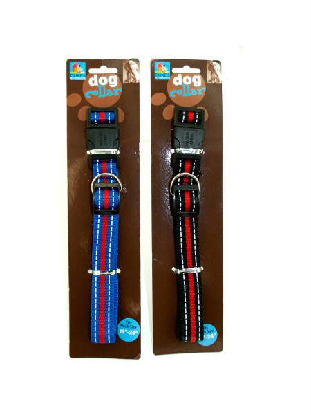 Striped Nylon Dog Collar (Available in a pack of 12)