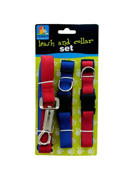 Dual-Colored Nylon Leash & Collars Set (Available in a pack of 8)