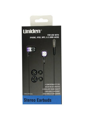 Stereo Earbuds with Extra Ear Cushions (Available in a pack of 12)