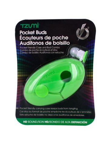 Green Pocket Ear Buds with Silicone Case (Available in a pack of 15)