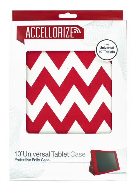 Red Chevron Universal Tablet Case with Pocket (Available in a pack of 6)