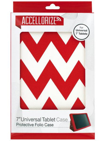 Accellorize Red Chevron Universal Tablet Case (Available in a pack of 10)