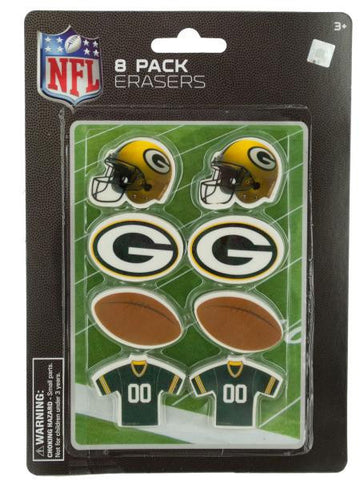NFL Licensed Green Bay Packers Shaped Erasers Set (Available in a pack of 24)