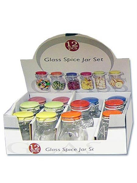 Glass Spice Jar with Colored Locking Lid Countertop Display (Available in a pack of 12)