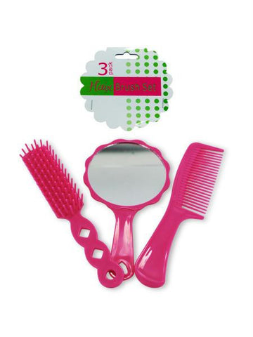 Hairbrush & Comb Set with Mirror (Available in a pack of 12)