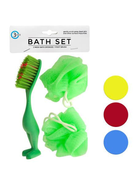 Bath Sponges & Foot Brush Set (Available in a pack of 24)