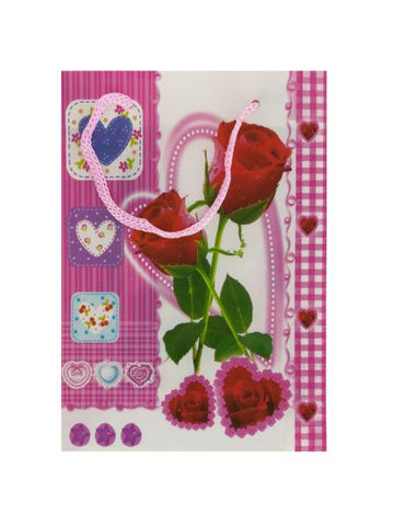 "6.75"" Roses-Hearts Gift Bag (Available in a pack of 24)"