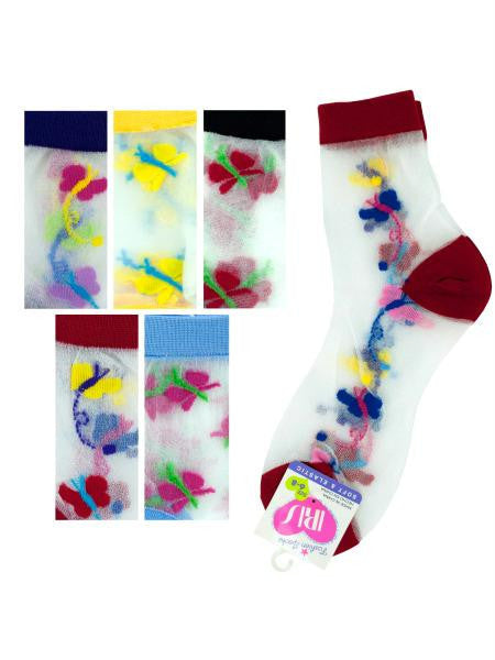 High Cut Butterfly Socks Size 6-8 (Available in a pack of 36)