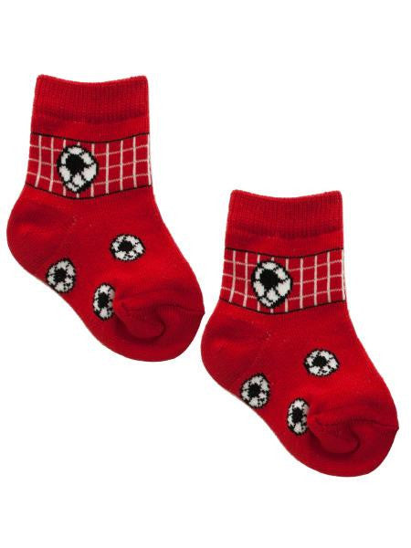 Red Soccer Rocker Baby Socks Set for 0-12 Months (Available in a pack of 10)