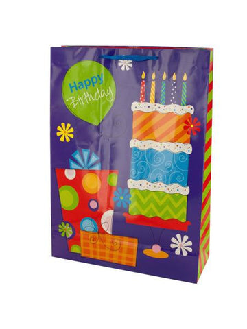Happy Birthday Purple Floral Gift Bag (Available in a pack of 24)