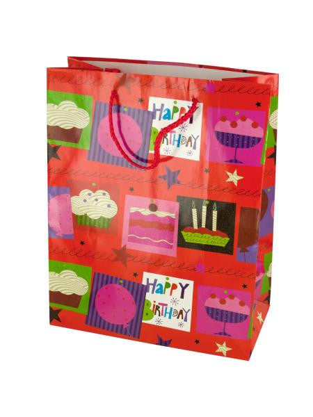 Medium Red Happy Birthday Gift Bag (Available in a pack of 24)