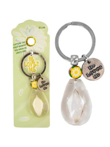 He Loves Me Daisy Petal Acrylic Key Chain (Available in a pack of 20)