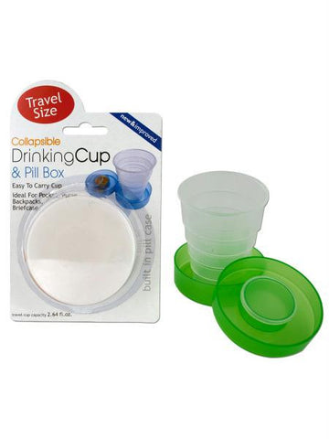 Collapsible Drinking Cup & Pill Box (Available in a pack of 12)