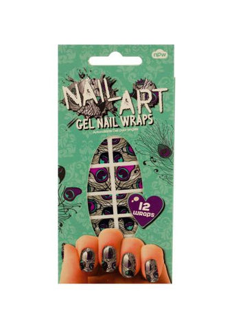 Peacock Nail Art Gel Nail Wraps Set (Available in a pack of 24)